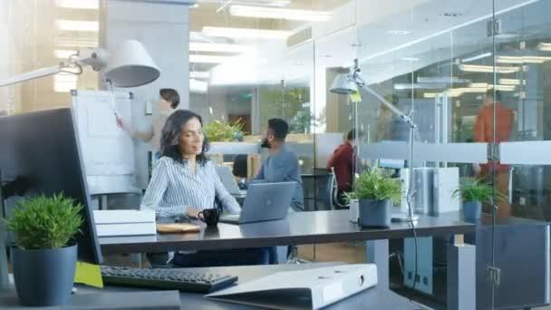 Time-lapse della giornata lavorativa di una bella donna di affari ispanica. Lei lavora in un ufficio internazionale occupato dove diversi Team di talentuosi giovani persone lavorano su computer portatili, avere incontri, discussioni