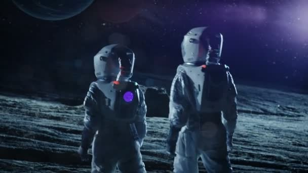 Two Astronauts in Space Suits Standing on the Alien Planet Look at Two  Beautiful Planets in the Sky  Space Travel, Habitable World and  Colonization Concept