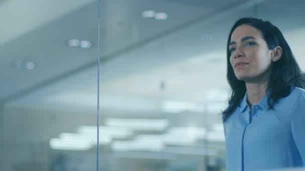 Krásná žena Ceo v její kanceláři vypadá z okna. Silné, nezávislé ženy s velkými úspěchy za a před ní