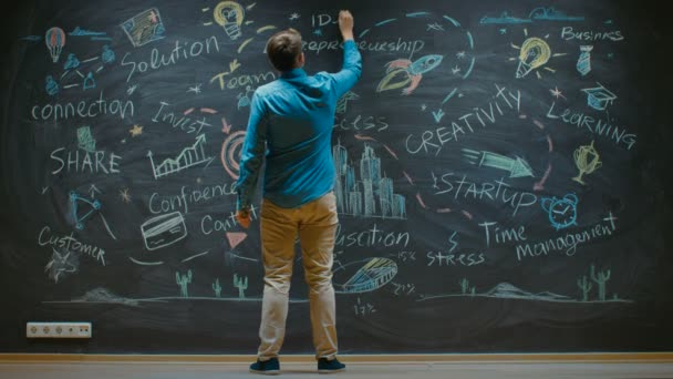Young Man Drawing on Blackboard Inspirational Keywords for Business Start-up. Colorful Drawings with Bits of Wisdom.