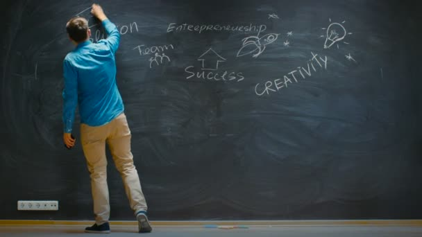 Time-Lapse/ Stop Motion of the Young Man Drawing on Blackboard Inspirational Keywords for Business Start-up. Colorful Drawings with Bits of Wisdom.