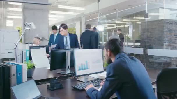 Time-Lapse of the Working Day in the Big Corporate Office. Diverse Team of Talented Business People Work on at their Desks, Have Meetings, Discussions.