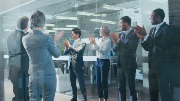 Businesswoman Got Big Promotion, Walking Path of Success, His Colleagues Cheer and Applaud. Stylish Diverse Office Filled with Happy People.