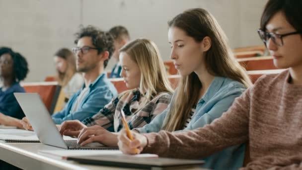 Gyönyörű fiatal diák használ Laptop, és hallgatta egy előadás az egyetemen, ő emeli kezét és kéri tanár egy kérdés. Több etnikai csoport Modern fényes diák.