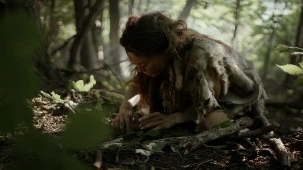 Prähistorische Höhlenforscherin sucht im Wald nach Nüssen und Beeren. Primitive Neandertalerin findet Nahrung im Sonnenwald