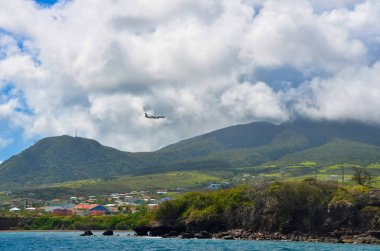 The view of Island of St. Kitts from the boat