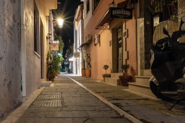 RETHYMNO, GREECE - AUGUST 2018: Night narrow street of old town center