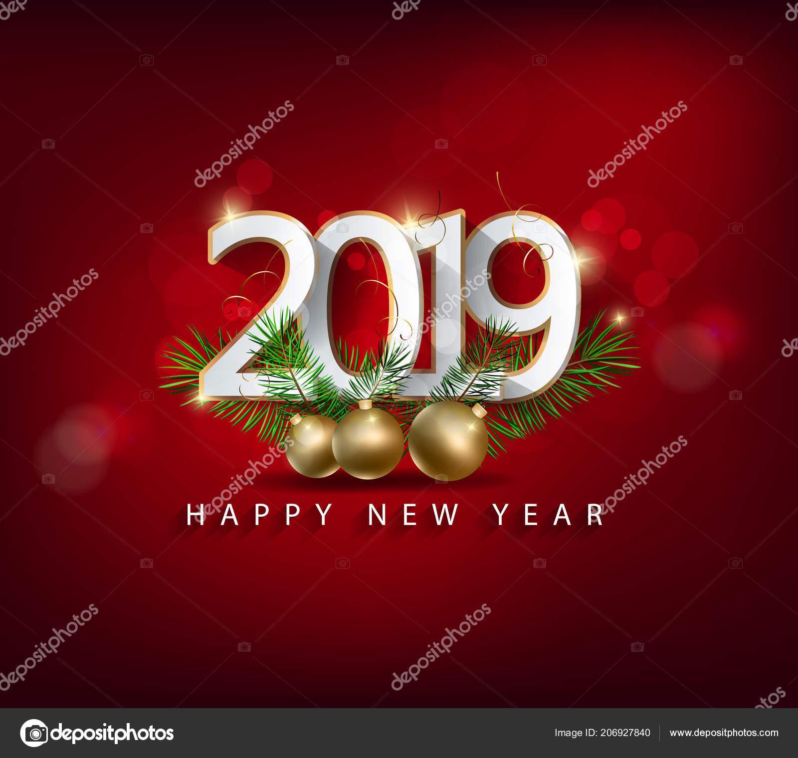 Frohes Neues Jahr 2019 Und Frohe Weihnachten — Stockvektor ...