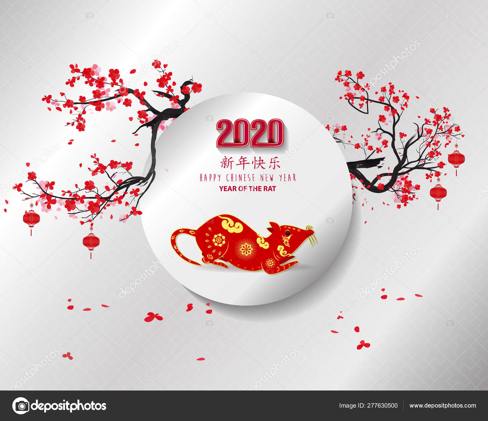 Happy New Year 2020 Merry Christmas Happy Chinese New Year Stock Vector C Kimminthien 277630500