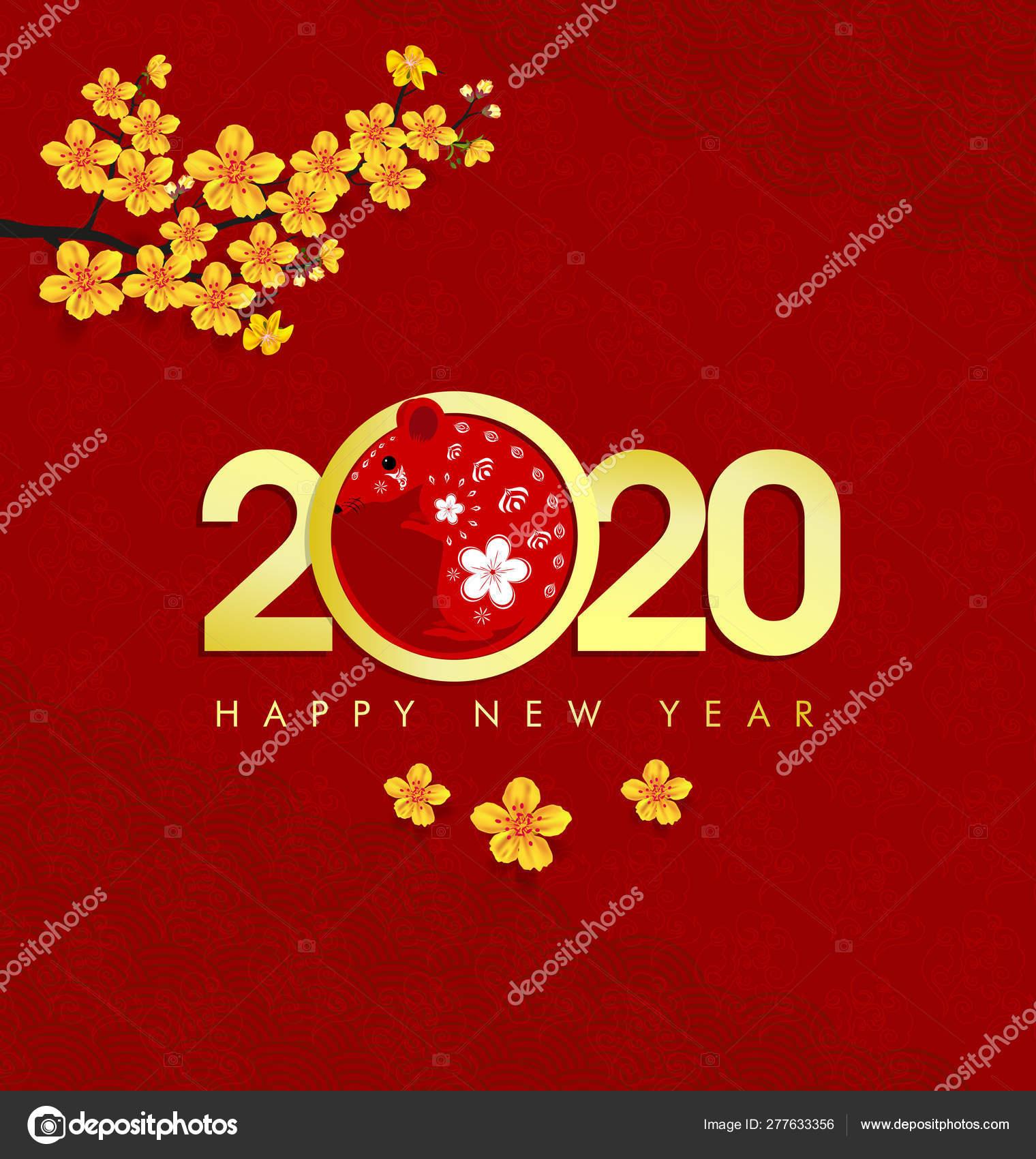 Новым 2020 Годом Рождеством Христовым Счастливый Китайский ...