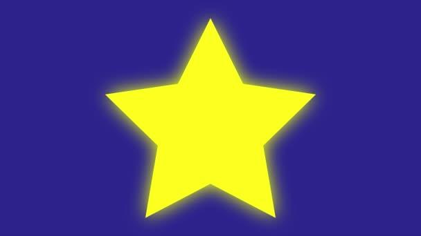 Smyčka zářící žluté hvězdy s modrou obrazovkou