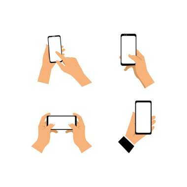 Hand holding smartphone blank screen illustration flat design icon