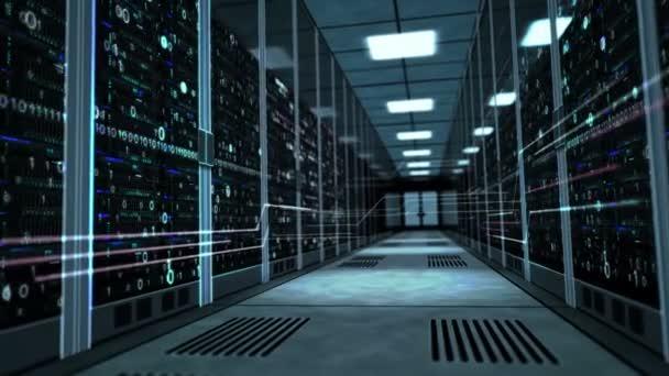 Kamera steigt in den Korridor mit Serverschränken und dynamischen digitalen Hologrammen. 3D-Konzeptanimation von Cyber-Sicherheit, Big-Data-Speicherung, Datenbank, künstlicher Intelligenz und Analyse von Informationen.