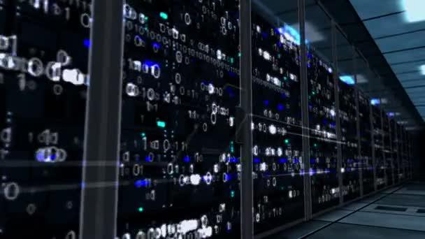 fliegen neben Serverschränken Wand mit digitalen Hologrammen. Durchgängiges und nahtloses Konzept von künstlicher Intelligenz, Big Data Storage, digitalem Serverraum, Datenbank, Cybersicherheit und Informationsanalysen.