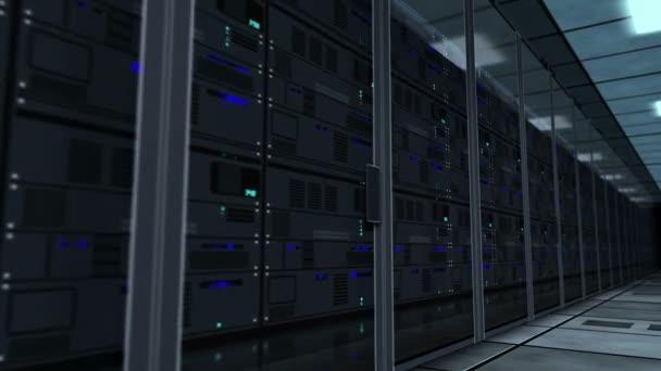 fliegen zwischen Rack-Servern Schleife und nahtlose Animation. Konzept der Datenspeicherung, digitaler Serverraum, Datenbank, Cyber-Sicherheit und Analyse von Informationen.