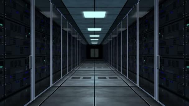 Konzept der Cyber-Sicherheit, Datenspeicherung, digitaler Serverraum, Datenbank und Analyse von Informationen. Fliegen zwischen Rack-Servern Tunnelschleife und nahtlose Animation.