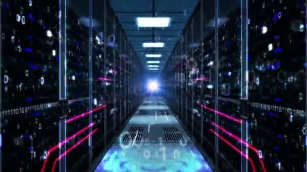 schneller Rückflug durch den Serverraum. Futuristische Technologie nahtlose und lückenlose Animation mit Computerbrettern. Datenbank, künstliche Intelligenz, Cloud Computing und Datenanalysekonzept.