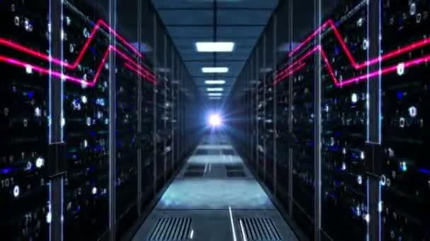 Schneller Flug durch den Serverraum. Futuristische Technologie nahtlose und loopable Animation mit Computer-Racks Korridor. Datenbank, Cloud Computing, künstliche Intelligenz und Datenanalysekonzept.