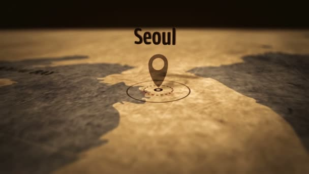 Seoul city on retro map in sepia color. Old atlas chart with mark by pushpin. Vintage maps 3D animation.