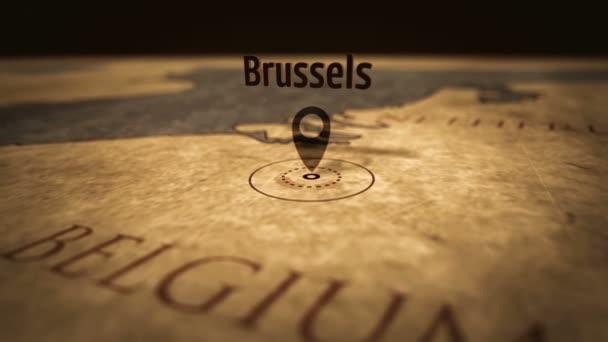 Bruselské město v retromapě v barvě sépie. Stará mapa atlasu se značkou pomocí špendlíku. Roční mapy 3D animace.