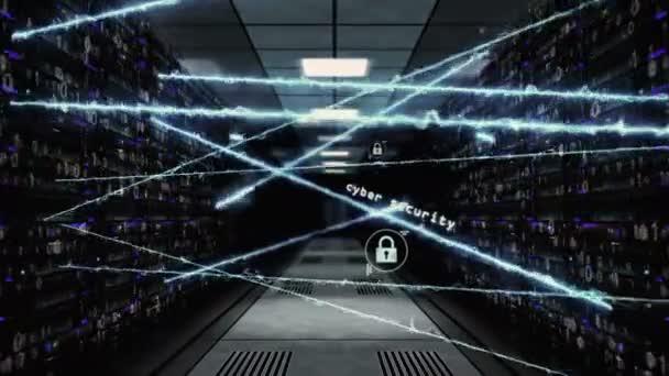 Fogalma Cyber biztonság, számítógép-védelem és a tűzfal. Varrás nélküli és loopable repülés átmenő tartó szolgál-ban számítógép adat központ-val dinamikus neurális kapcsolat és ikonok.