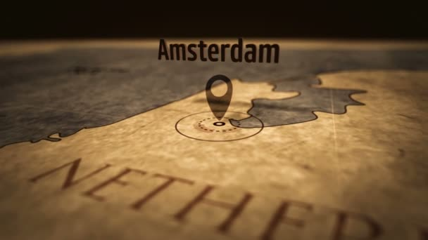 Amsterdam city on retro map in sepia color. Old atlas chart with mark by pushpin. Vintage maps 3D animation.