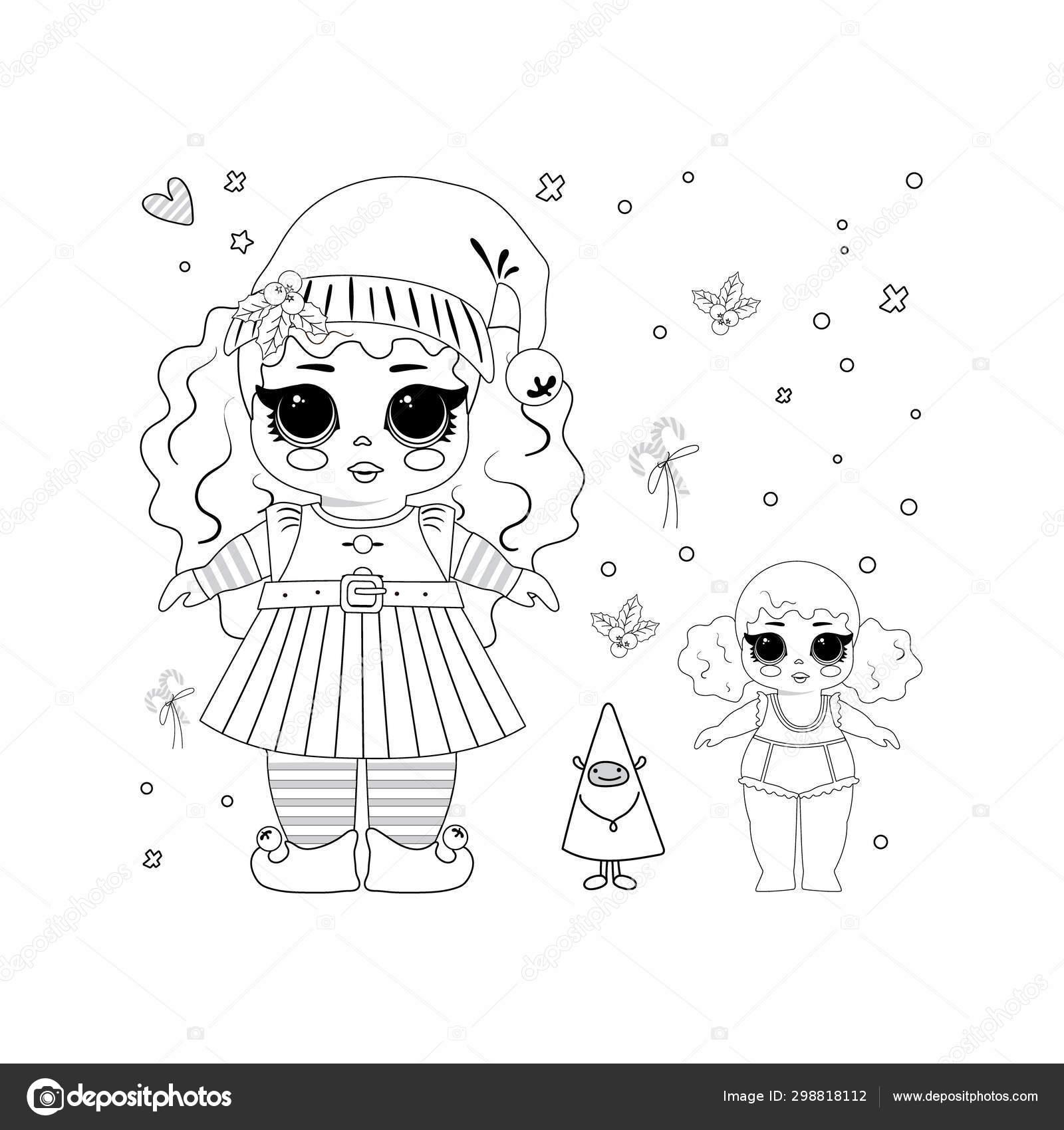 Kids Coloring Christmas Elf Lol Doll Cute Vector Illustration