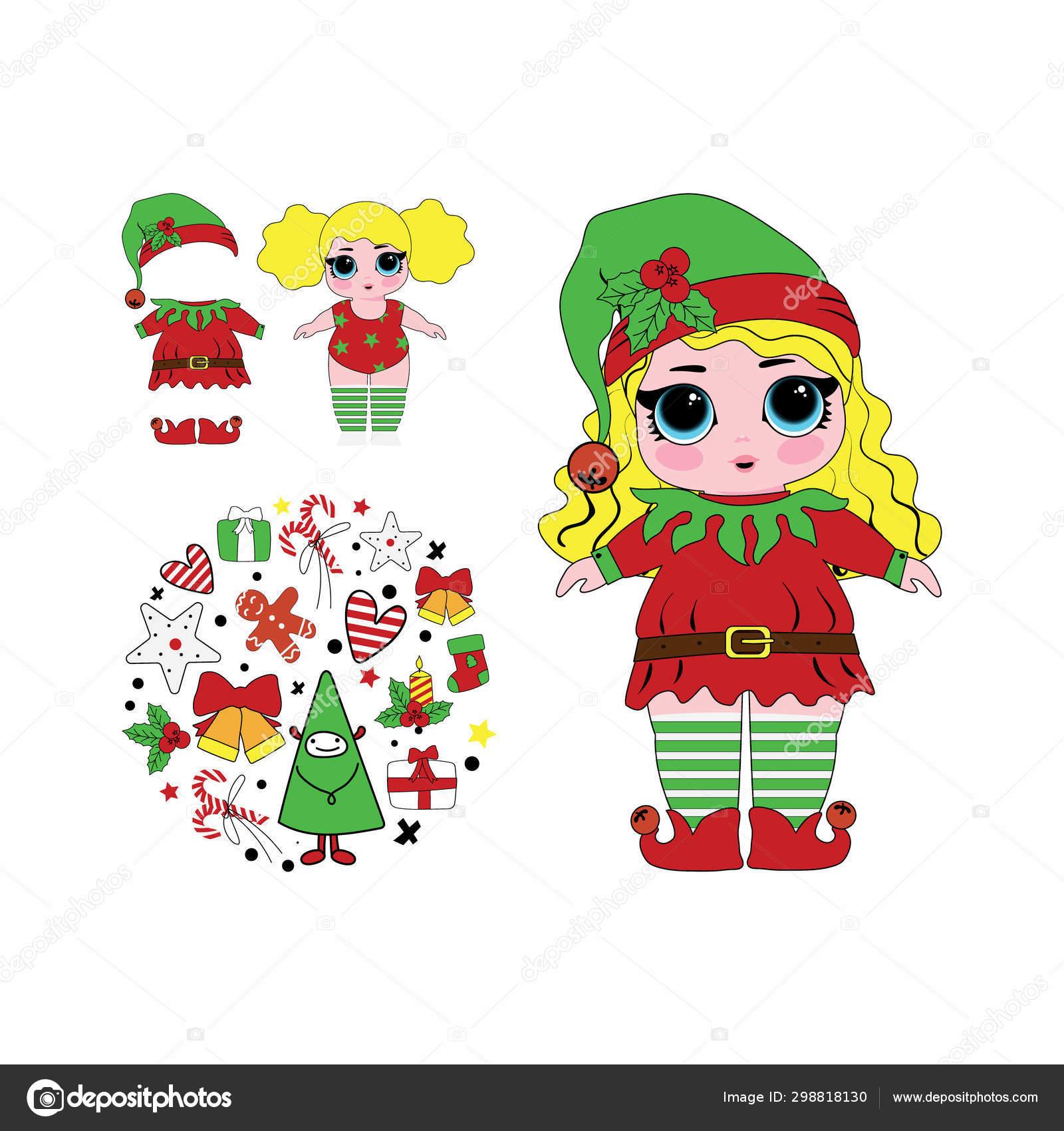 Christmas Elf Lol Doll Cute Vector Illustration Stock