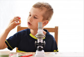 boy sitting near the microscope