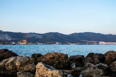 Black Sea cargo ships and mountains