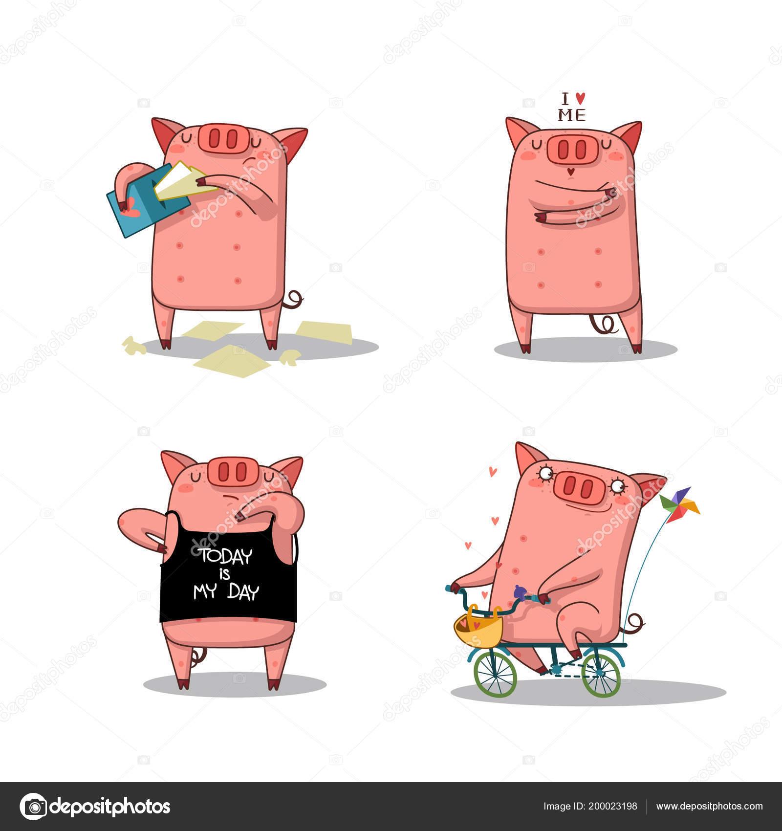 Gran cerdo feliz juego — Ilustración de Stock