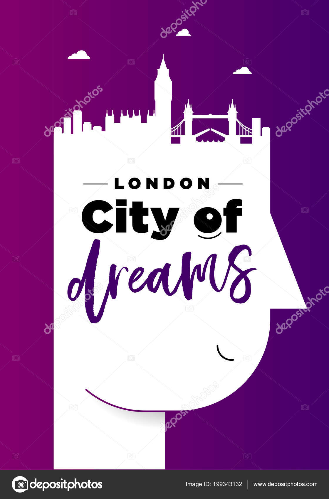 Poster Lettering London City Dreams Male Head Silhouette