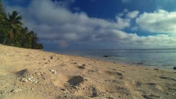Rarotonga Cook Islands Scenic Time Lapse Of Seascape And Girl Walking On Tropical Beach In The South Pacific Ocean On Sunny Day With Cloudy Blue Sky In Polynesia South Pacific