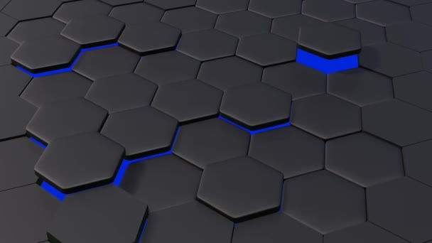 3d animation of abstract modern background honeycomb pattern with blue light