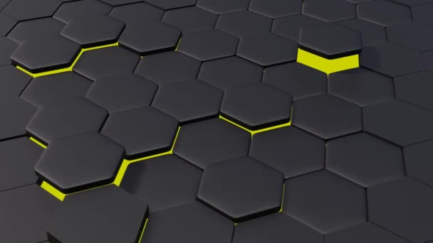 3d animation of abstract modern background honeycomb pattern with YELLOW LIGHT