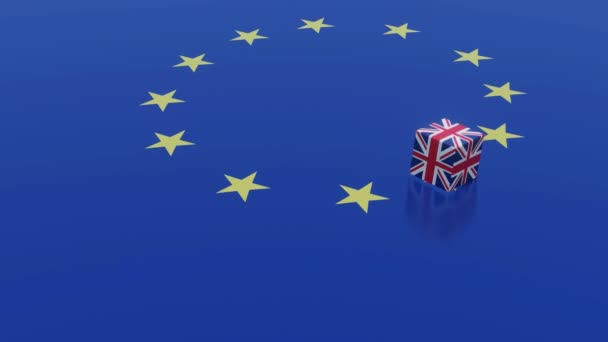3D ANIMATION OF BREXIT CONCEPT MADE BY DICES ON EUROPE FLAG WITH THE INDICATION OF NO DEAL UPON THE TOP FACE OF DICE