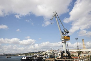 Shipyard and large cranes in Istanbul estuary.