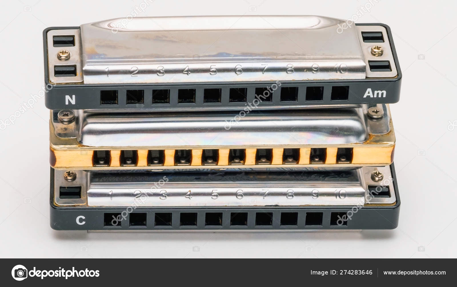 Blues harp classic diatonic harmonica — Stock Photo