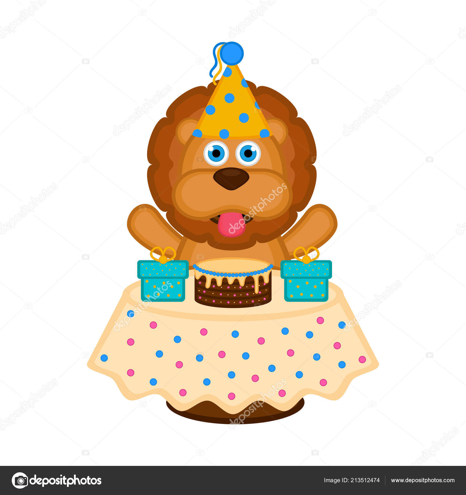 Amazing Cute Lion Party Hat Cake Presents Happy Birthday Vector Funny Birthday Cards Online Sheoxdamsfinfo