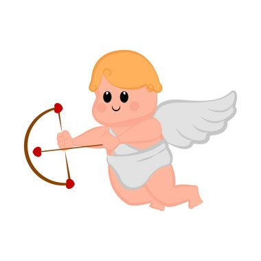 Cute cupid boy icon with bow and arrows
