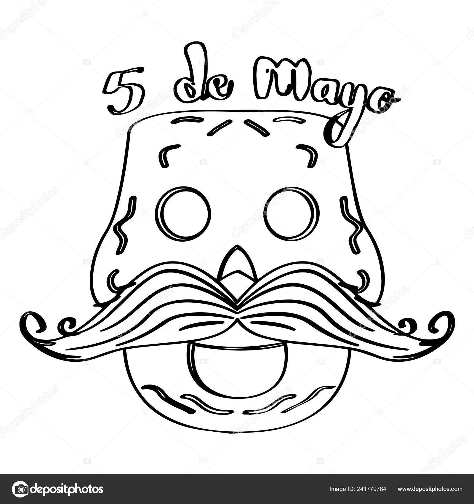 Desenho De Uma Caveira Mexicana Feliz Cinco De Mayo Vetores De