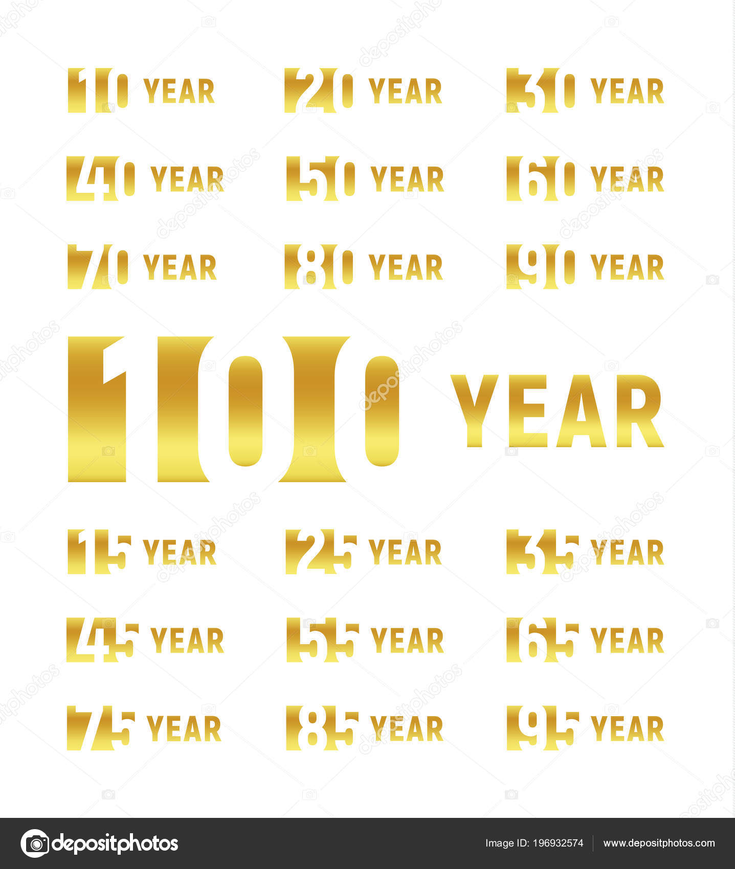 Anniversary of company gold negative space sign business birthday anniversary of company gold negative space sign business birthday vector logo set golden numbers year num celebration card design element stopboris Images