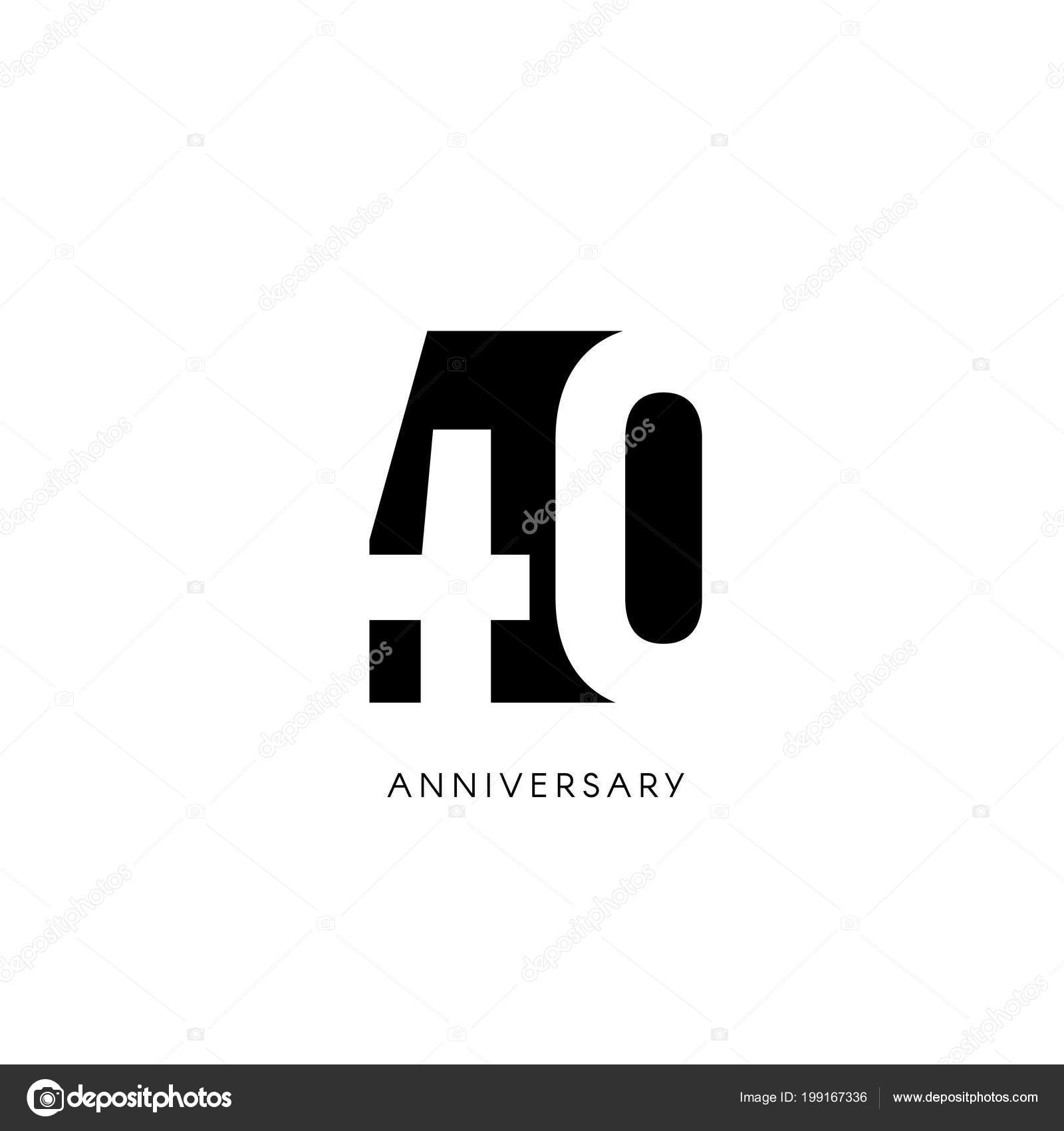 Forty anniversary, minimalistic logo. Fortieth years, 40th jubilee ...