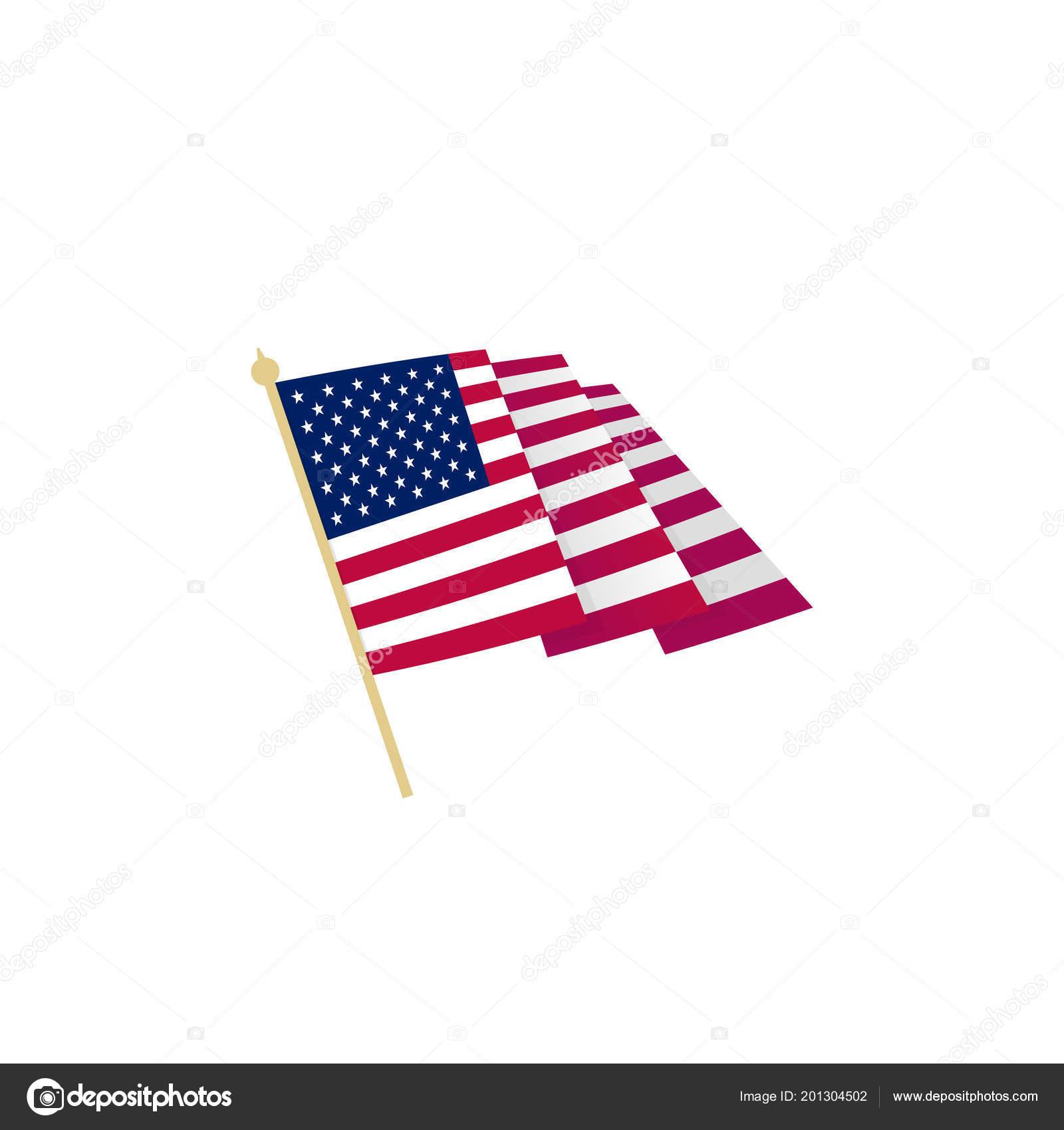 American Flag Waving Usa Flag With Sharp Corners Simple Isolated