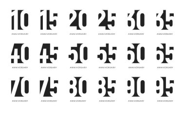 Anniversary logo, negative space stylized signs, anniversary celebrate emblems, century numbers collection, birthday black signs set on white background.