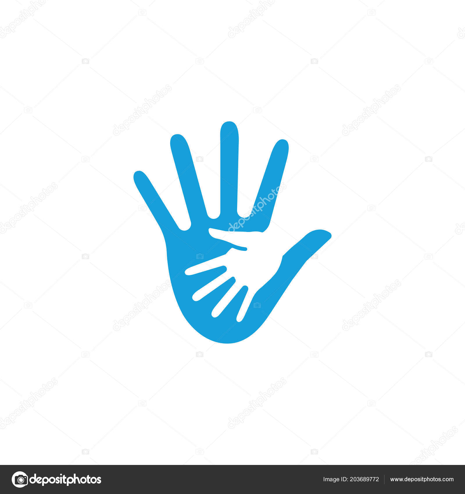 Friendly Gesture Of The Hand In The Hand Abstract Shape