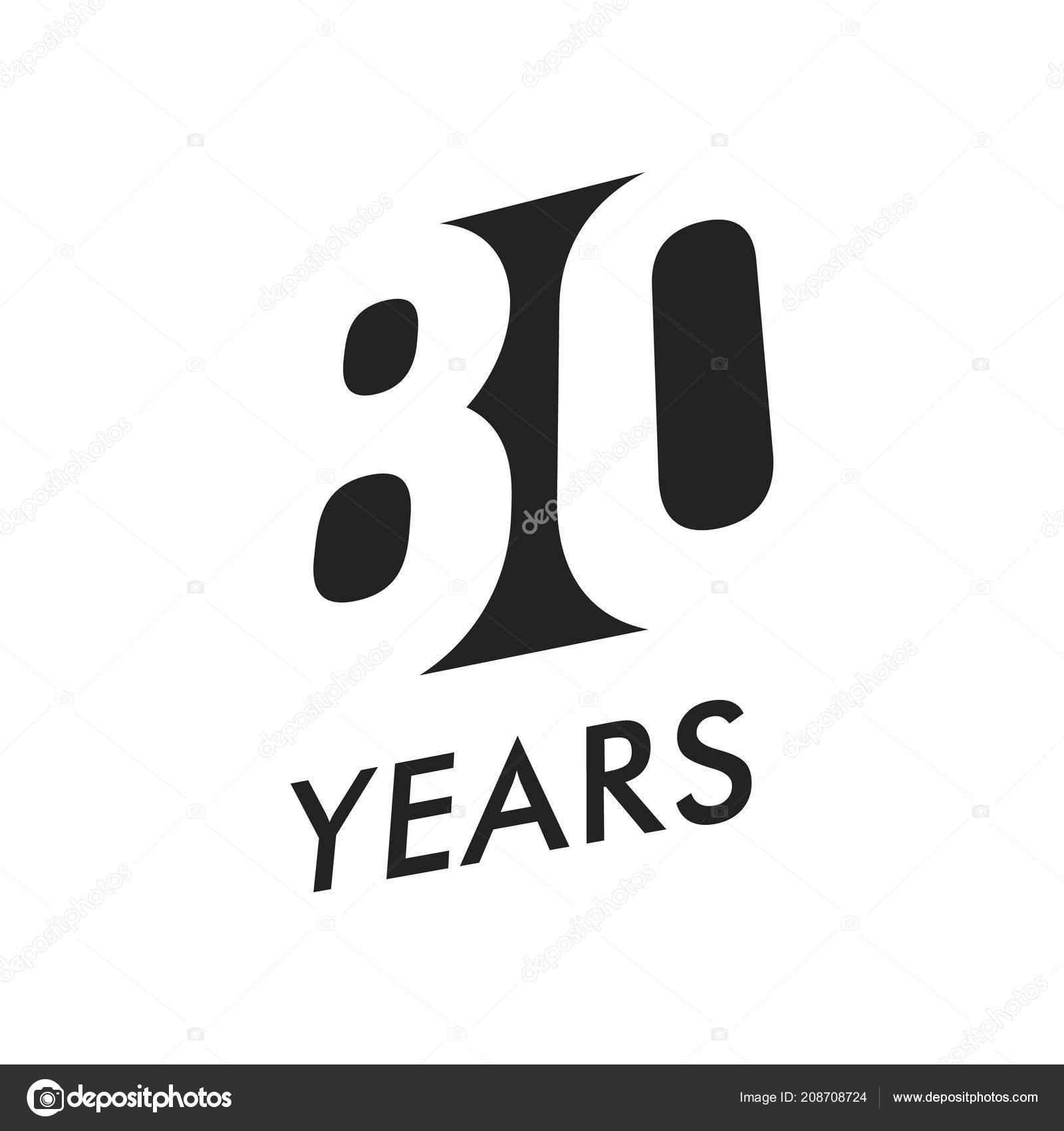 Eighty Years Vector Emblem Template Anniversary Symbol Negative