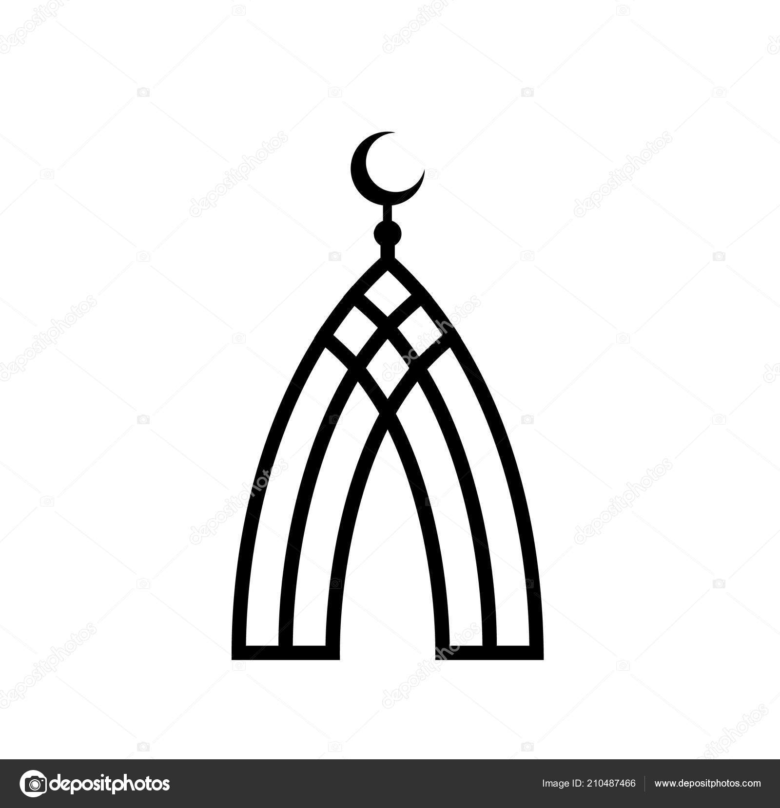 Mosque Of Black Lines Islam Symbol Islamic Crescent Vector Icon