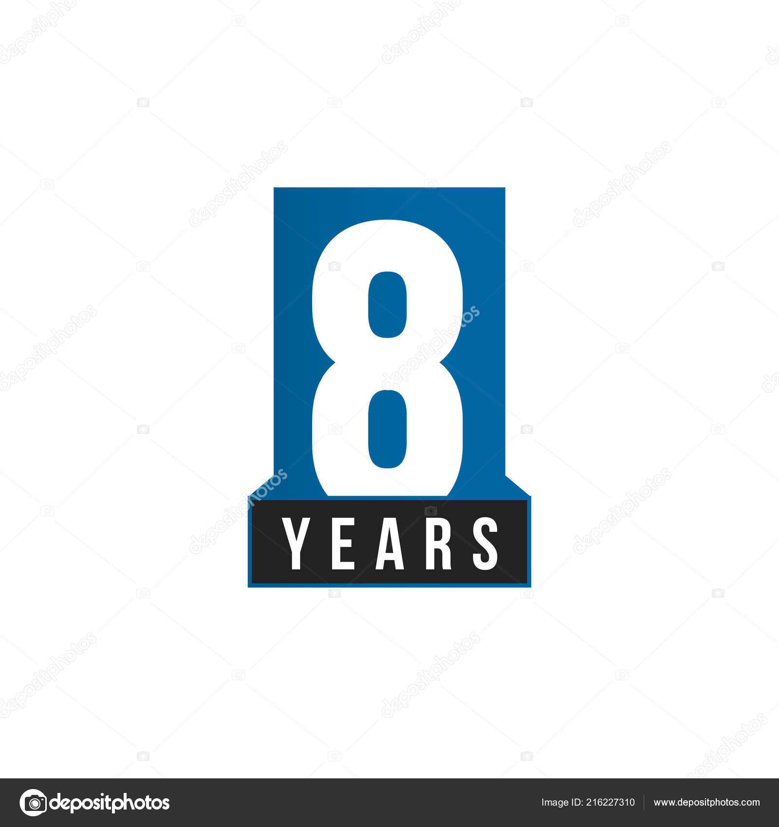 8 years anniversary vector icon birthday logo template greeting