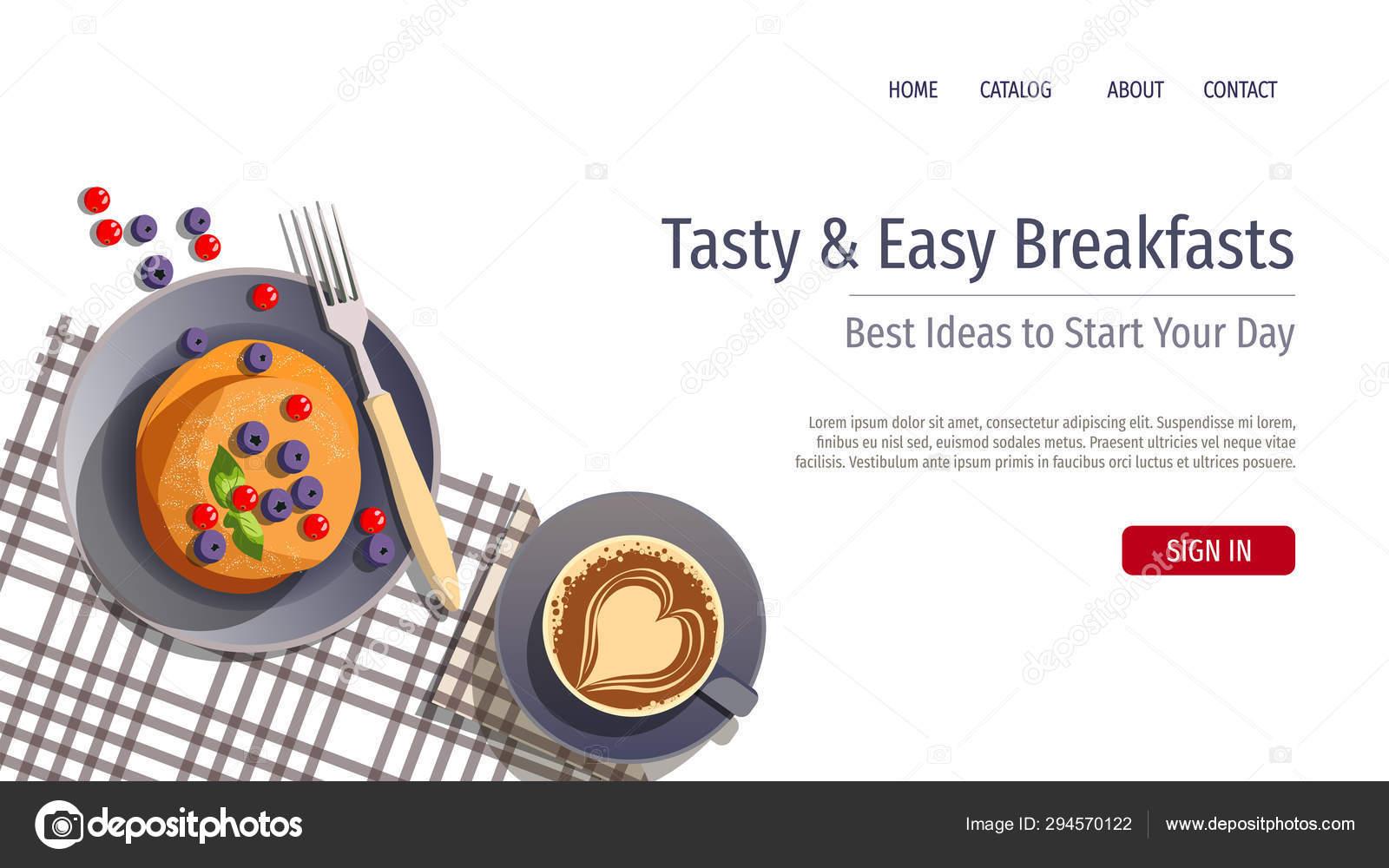 Web Page Banner Design Template Breakfast Healthy Cooking Recipes Pancake Stock Vector C Yagudinatatyana 294570122
